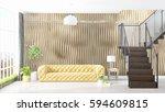 modern bright interior . 3d... | Shutterstock . vector #594609815