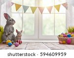 happy easter  background with... | Shutterstock . vector #594609959