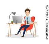 business man working on... | Shutterstock .eps vector #594612749