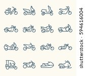 motorcycle line icon set | Shutterstock .eps vector #594616004