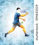 tennis player vector  abstract... | Shutterstock .eps vector #594631019