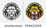 angry lion head mascot logo | Shutterstock .eps vector #594631049