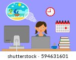 dream about a vacation.... | Shutterstock .eps vector #594631601