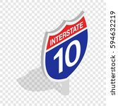interstate highway sign... | Shutterstock .eps vector #594632219