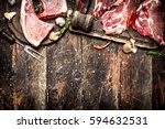 raw meat background. raw pork... | Shutterstock . vector #594632531
