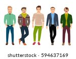 vector confident fashion man in ... | Shutterstock .eps vector #594637169