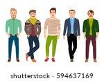 vector confident fashion man in ... | Shutterstock .eps vector #594637169