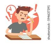 worried  upset teen student on... | Shutterstock .eps vector #594637391