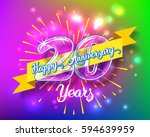 happy 20th anniversary. glass... | Shutterstock .eps vector #594639959