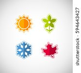 vector season icons. four... | Shutterstock .eps vector #594643427