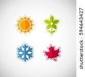 vector season icons. four...   Shutterstock .eps vector #594643427