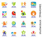 kids signs  symbols and logo... | Shutterstock .eps vector #594643481