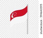 singapore flag isometric icon... | Shutterstock .eps vector #594643595