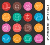 colorful tea thin line vector...