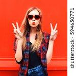 portrait pretty young woman in... | Shutterstock . vector #594650771