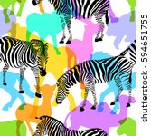 zebra with colorful silhouette... | Shutterstock .eps vector #594651755