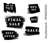 set of grunge sale banners with ... | Shutterstock .eps vector #594653501