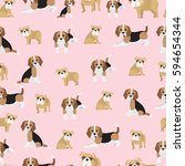 bulldog and beagle on pink... | Shutterstock .eps vector #594654344