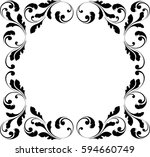 decorative frame. floral swirls ... | Shutterstock .eps vector #594660749