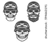 set of racer skulls isolated on ... | Shutterstock .eps vector #594663191