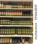 Small photo of SELANGOR, MALAYSIA - 28 FEB 2017 AEON BIG SUPERMARKET. AEON BIG (M) SDN BHD. started operations on 1st November 2012. Bottles oil, Olive oil on display neatly on the shelves for sale
