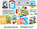 set of cards  illustrations and ... | Shutterstock .eps vector #594667247