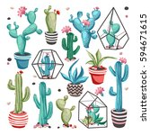 cacti flower collection. set of ... | Shutterstock .eps vector #594671615