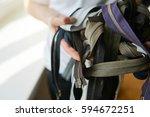pile of zippers in tailor's... | Shutterstock . vector #594672251