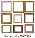 nine antique picture frames. High resolution - stock photo