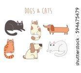set of cute cartoon characters...   Shutterstock .eps vector #594675479