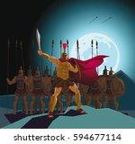 detachment of roman legionaries.... | Shutterstock .eps vector #594677114