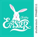 happy easter greeting card with ... | Shutterstock .eps vector #594680111