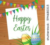 happy easter lettering with... | Shutterstock .eps vector #594680315