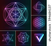 sacred geometry set. vector... | Shutterstock .eps vector #594684137