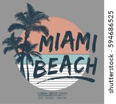 tropical miami.  typography  t... | Shutterstock .eps vector #594686525
