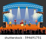 concert scene with band pop.... | Shutterstock .eps vector #594691751