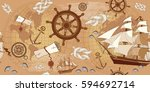 old map seamless pattern.... | Shutterstock .eps vector #594692714