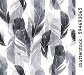 watercolor feathers  seamless... | Shutterstock . vector #594693065