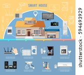 smart home infographic. remote... | Shutterstock .eps vector #594693929