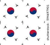 seamless pattern taekwondo   Shutterstock .eps vector #594697901