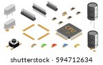 set of electronic components | Shutterstock .eps vector #594712634