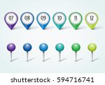 set of colorful map markers  ... | Shutterstock .eps vector #594716741