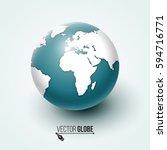 earth globe. 3d world planet.... | Shutterstock .eps vector #594716771