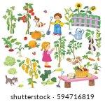 in the garden. farm. cute boy...   Shutterstock . vector #594716819