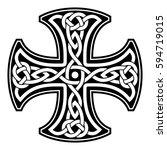 celtic national ornament in the ... | Shutterstock .eps vector #594719015