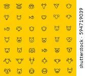 animal face icons vector | Shutterstock .eps vector #594719039