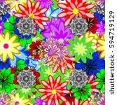 vector flower concept. leaf... | Shutterstock .eps vector #594719129