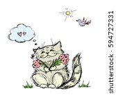Cat With Flowers  Hand Drawing...