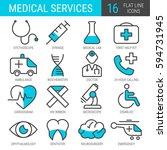 medical services. set of flat... | Shutterstock .eps vector #594731945