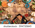 appetizing barbecued steak ... | Shutterstock . vector #594735845